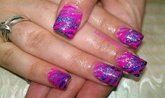Pink Striping. Hey!!! These are my nails!! LOL