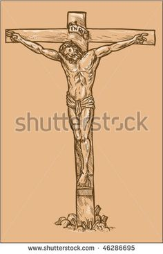 vector hand drawn sketch illustration of Jesus Christ hanging on the cross with white highlights. White Highlights, Vector Hand, Halloween Art, Royalty Free Images, Jesus Christ, Retro Fashion, How To Draw Hands, Christian, Hand Drawn