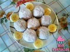 6 banán2 csomag vaníliás cukor2 evőkanál porcukorkb. 25 dkg darált kekszkókuszreszelék a megforgatáshozAz eredeti recept úgy szól, hogy 3... Breakfast, Food, Morning Coffee, Essen, Meals, Yemek, Eten