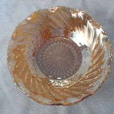 Vintage Gold Iridescent Marigold Ruffled bowl.2 tall 6.25@ rim from Indiana glass.  Link to other vintage glass