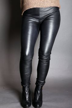 Items similar to Skinny Leather Leggings Pants in Black on Etsy Leather Tights, Black Leather Pants, Leather Trousers, Shiny Leggings, Black Leggings, Leggings Are Not Pants, Biker Chic, Fabulous Dresses, Toxic Vision
