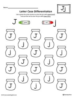 Letter Case Recognition Worksheet: Letter J Worksheet.This fun and coloring activity helps preschoolers and kindergarteners recognize the difference between the uppercase and lowercase letter J. Letter J Activities, Letter Worksheets For Preschool, Preschool Letters, Alphabet Worksheets, Preschool Lessons, Kindergarten Worksheets, Handwriting Worksheets, Alphabet Crafts, Handwriting Practice