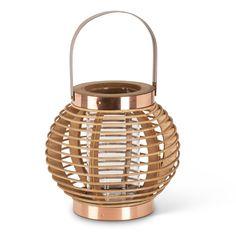 "Small 6.5"" Bastille Natural Wood Globe Lantern"