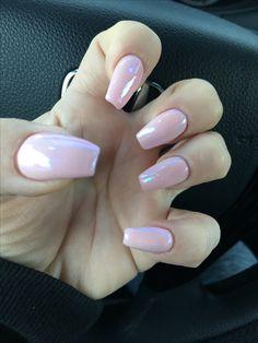 Pastel pink with white chrome powder...