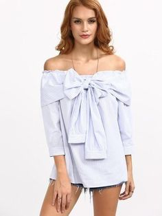 Navy Frill Bow Off Shoulder Striped Blouse