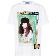 Prada Printed Cotton T-Shirt ($480) ❤ liked on Polyvore featuring tops, t-shirts, white, white top, white cotton tops, cotton tee, white t shirt and cotton t shirts