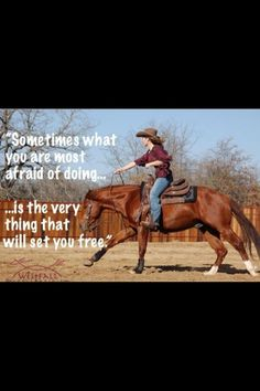 This is very true. When we first started messing with horses I was terrified of them. Now it's all u want to do is ride a horse! Rodeo Quotes, Equine Quotes, Cowboy Quotes, Cowgirl Quote, Equestrian Quotes, Cowgirl And Horse, My Horse, Horse Love, Horse Sayings