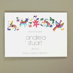 Andrea Suite - Otomi Animal Print Destination Wedding Save the Date / Announcement - Mexico De Mis Amores - Customizable Stationery - Sample...