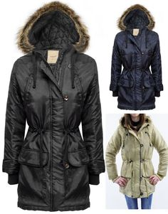 Womens Parka Jacket Coat Ladies Thin Quilted Faux Fur Hood Zip Up Toggle Button #Trinity249 #ParkaJacket #Outdoor