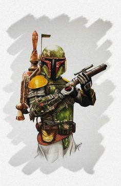 BOBA FETT (Watercolor) by Karla Quinga Renteria, via Behance