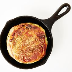 """At Parachute in Chicago, this bacon-studded, potato-filled, cheesy sesame bread is served in 6"""" cast-iron pans; we adapted it to work in a 10""""."""