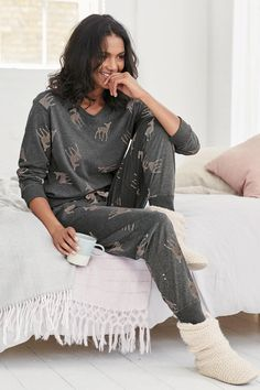 Buy Deer Print Jersey Pyjamas from the Next UK online shop Pajamas All Day, Cozy Pajamas, Pajamas Women, Lazy Outfits, Cute Outfits, Loungewear Outfits, Cute Sleepwear, Next Fashion, Tumblr Outfits