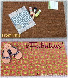 how to paint a stenciled door mat