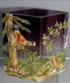 Moser Amethyst Art Glass Painted Enamel Vase with Applied Birds