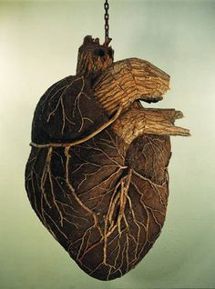 Dimitri Tsykalov, Heart, 2009, from the 'Wooden Organs' series. Dimitri Tsykalov is a Russian sculptor who has an atelier among the woods in Nogent-sur-Marne outside of Paris.