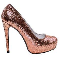 Sparkly Metallic Rose Gold glitter heels wedding bridal bride shoes sweet 16 gift bridesmaid prom homecoming #GlitterHeels