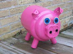 Love this!!!  Handmade Junk Art Pig/ Metal Art/ Garden Art/ Yard by sewupcycle, $75.00