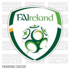 Ireland Football Team Badge - Republic of Ireland national football (soccer) team Football Awards, Football Team Logos, Soccer Logo, National Football Teams, Football Soccer, Sports Logos, Football Shop, Soccer Teams, Football Design
