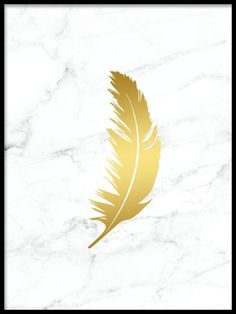 Feather Gold marble, poster