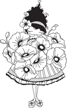 Stamping Bella Unmounted Rubber Stamp-Lulu Loves Poppies