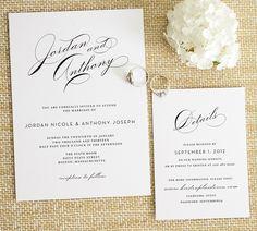 Vintage Glam Wedding Invitations with Big Script Names - Glamorous, classic, elegant, timeless wedding invitations