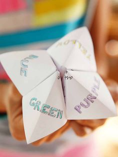 Paper fortune teller for a fun kids' activity at a wedding