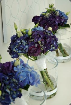 blue and purple bridesmaid bouquets