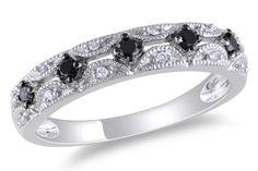 1/5 Carat Black and White Diamond Ring 10k White Gold w/Black Rhodium Plated $300 <3 <3 <3
