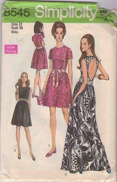 Simplicity 8545 Vintage 60s Sewing Pattern, open oval keyhole back mod party dress or Maxi gown, Fave of MOMSPatterns