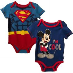 76496d2f5a6e9 Superman & Mickey Mouse Infant Baby Boys 2-Pack Bodysuit Creeper Set 3-