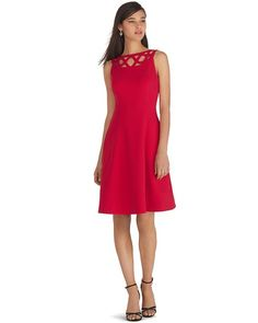 White House Black Market Sleeveless Red Fit Flare Dress Whbm