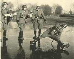 German Soldiers on Ice: They could take over most of Europe, but weren't so good at skating.