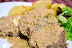 Reteta de friptura de vita cu sos cu branza Roquefort si usturoi Carne, Steak, Food, Meal, Eten, Steaks, Meals, Beef