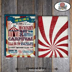 vintage inspired carnival invitations, printable on etsy.com for $20
