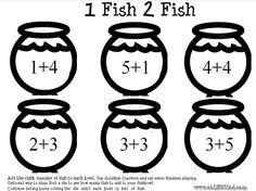 Free printable. Awesome DR. Seuss math game to do at snack time and of course after reading 1 fish ,1 fish, red fish, blue fish. There's a number id page too. Just pick up your goldfish for the answers.