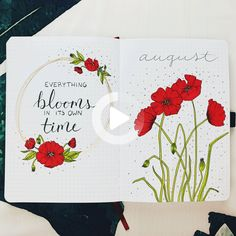 PLAN WITH ME || August 2019 Bullet Journal Set Up - I've never been confident with drawing flowers, but I've always thought floral bujo themes were so beautiful, so I really wanted to give it a try this month! I went with this vibrant poppy theme, and I'm actually so happy with how everything turned out! #August #bulletjournal #bulletjournallayout
