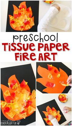 This tissue paper fire art project is an adorable craft that incorporates lots of fine motor skills practice. Great for tot school, preschool, or even kindergarten! by katie Fire Safety Crafts, Fire Safety Week, Preschool Fire Safety, Fireman Crafts, Firefighter Crafts, Preschool Art Projects, Daycare Crafts, Preschool Activities, Time Activities