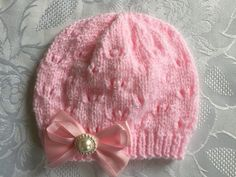 Hand Knitted Baby Girl's Pink Shimmer hat, 0 -3 Months £3.50