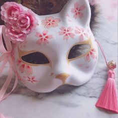 New Japanese Fox Mask Hand-painted Cat Natsume& Book of Friends Pulp Fox Half Face Mask Halloween Cosplay Animal Mask Party Grunge Look, 90s Grunge, Grunge Style, Soft Grunge, Grunge Outfits, Kitsune Maske, Japanese Fox Mask, Mascaras Halloween, Style Pastel