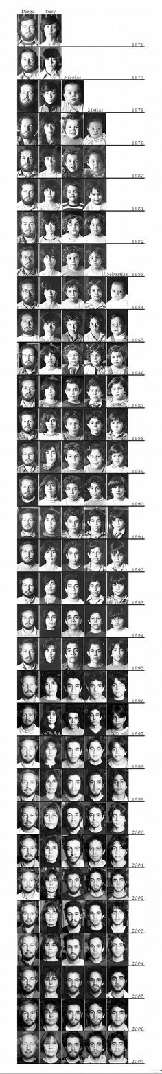Time progression photos of a (growing) family.  Great idea!  Wish I had tried this! (Too late now)