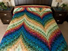 Bargello Flame Quilt -- outstanding cleverly made Amish Quilts from Lancaster (hs7257)