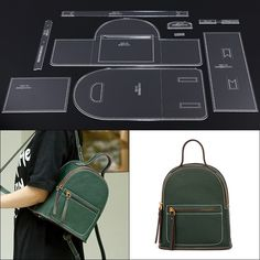 Online Shop Leather Tools Men and Women Casual Backpack Kraft Paper Stencil DIY Handmade Leather Craft Design Template Leather Bag Tutorial, Leather Wallet Pattern, Mini Mochila, Leather Gifts, Leather Craft, Leather Bags, Diy Backpack, Backpack Pattern, Leather Projects
