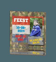 Stoer uitnodigingskaartje voor een kinderfeestje met legerkleuren