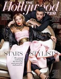 Lady Gaga is the latest cover girl for The Hollywood Reporter - Gaga appears in the spread in a strapless bublegum-pink satin gown, paired with a leather jacket and black-and-gold accessories including a statement wide gold belt—all Chanel of course. | Shot by Karl Lagerfeld