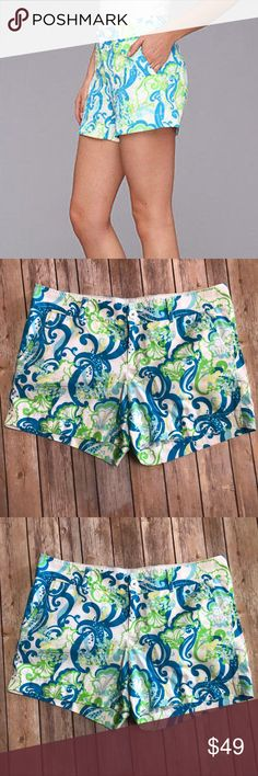 Lilly Pulitzer The Callahan Short Size 12 Lilly Pulitzer The Callahan Short Size 12. Super cute shorts with a cute swirl design. Blues greens and white. Great preloved condition. Measurements in pics Lilly Pulitzer Shorts