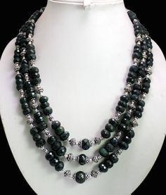 (SKU No. 1309ct) 1309ct Natural Green Emerald Designer Beads Necklace Faceted with Silver Beads