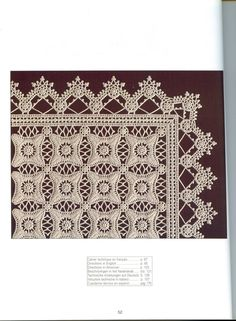 Creations Crochet D& - metelica-hobby World crochet: Tablecloth 187 Photo from album Creations Crochet D'or on Unique book on knitting a series of DMC. Crochet Afghans, Crochet Bedspread Pattern, Crochet Borders, Crochet Art, Crochet Squares, Crochet Home, Thread Crochet, Irish Crochet, Crochet Motif