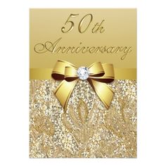 SAVE up to + FREE envelopes! Custom Gold Wedding Anniversary Faux Sequins and Bow Paper Invitation Card. This invitation design is available on many paper types and is completely custom printed. Anniversary Party Invitations, Wedding Anniversary Celebration, Sweet 16 Invitations, Engagement Party Invitations, Elegant Invitations, Bridal Shower Invitations, 50th Anniversary, Communion Invitations, Birthday Celebration