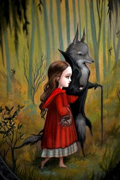 Little Red and the Wolf - original painting by Mab Graves