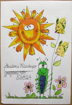 I like how the stamps are flowers.  Cute.   Audrey's Easy Reader Envelope #2 by mamacjt, via Flickr